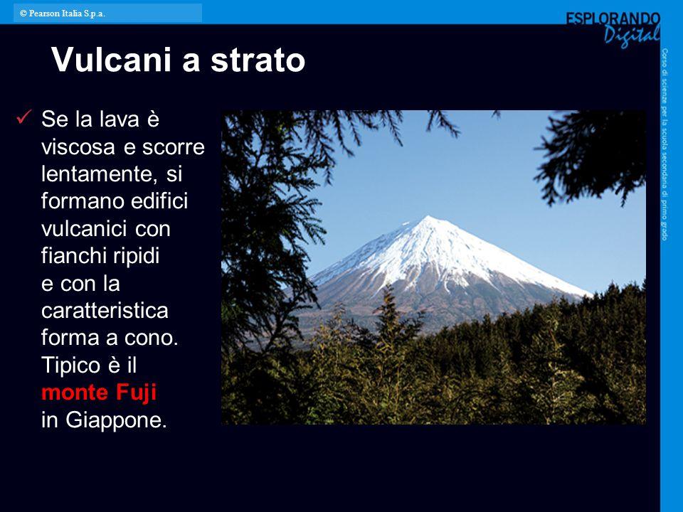 Vulcani a strato Se la lava è viscosa e scorre lentamente, si formano edifici vulcanici con fianchi ripidi e con la caratteristica forma a cono. Tipic
