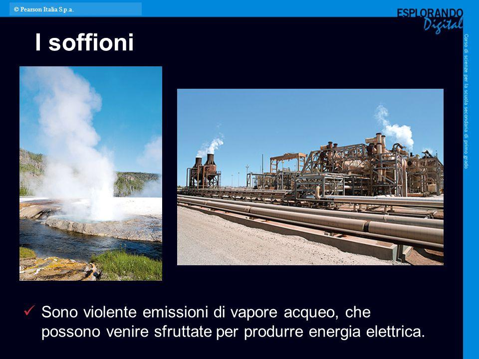 I soffioni Sono violente emissioni di vapore acqueo, che possono venire sfruttate per produrre energia elettrica. © Pearson Italia S.p.a.