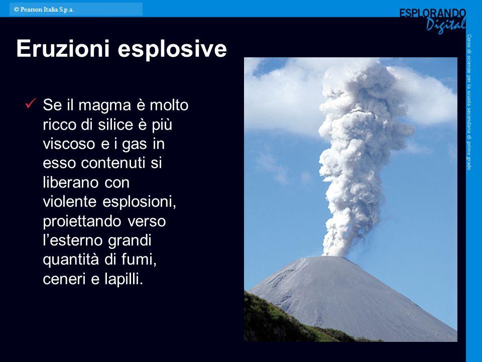 Eruzioni esplosive Se il magma è molto ricco di silice è più viscoso e i gas in esso contenuti si liberano con violente esplosioni, proiettando verso