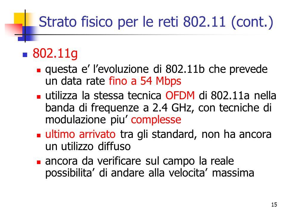 15 Strato fisico per le reti 802.11 (cont.) 802.11g questa e' l'evoluzione di 802.11b che prevede un data rate fino a 54 Mbps utilizza la stessa tecnica OFDM di 802.11a nella banda di frequenze a 2.4 GHz, con tecniche di modulazione piu' complesse ultimo arrivato tra gli standard, non ha ancora un utilizzo diffuso ancora da verificare sul campo la reale possibilita' di andare alla velocita' massima