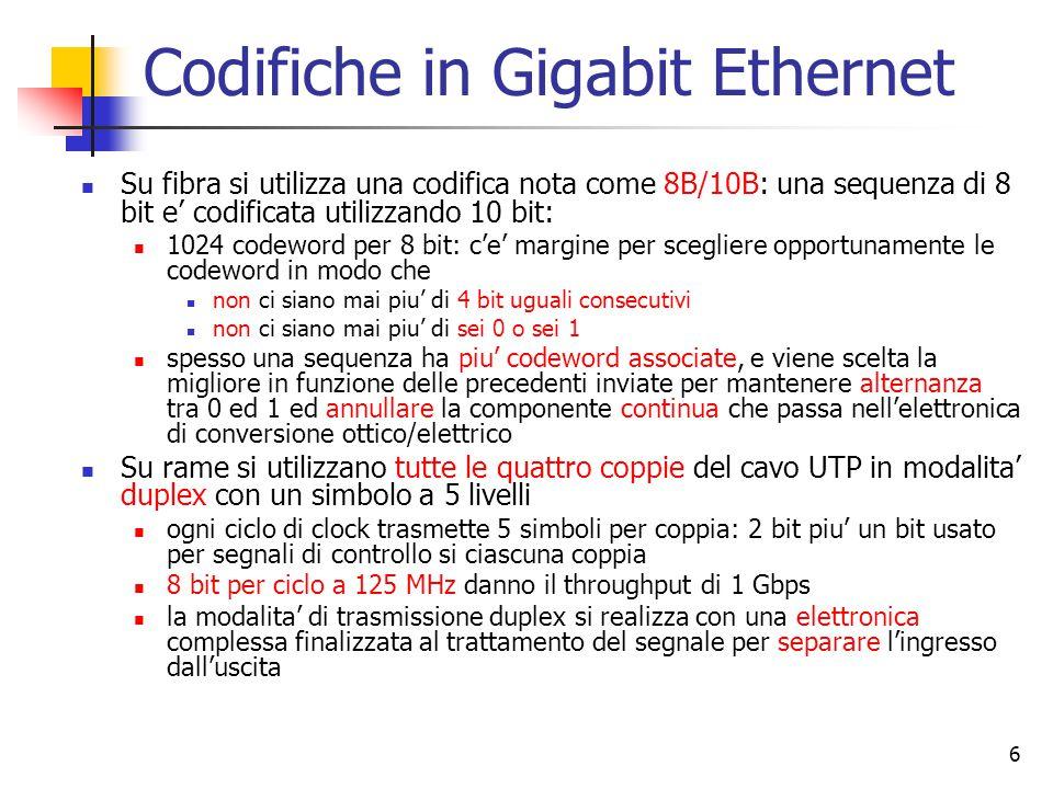 6 Codifiche in Gigabit Ethernet Su fibra si utilizza una codifica nota come 8B/10B: una sequenza di 8 bit e' codificata utilizzando 10 bit: 1024 codeword per 8 bit: c'e' margine per scegliere opportunamente le codeword in modo che non ci siano mai piu' di 4 bit uguali consecutivi non ci siano mai piu' di sei 0 o sei 1 spesso una sequenza ha piu' codeword associate, e viene scelta la migliore in funzione delle precedenti inviate per mantenere alternanza tra 0 ed 1 ed annullare la componente continua che passa nell'elettronica di conversione ottico/elettrico Su rame si utilizzano tutte le quattro coppie del cavo UTP in modalita' duplex con un simbolo a 5 livelli ogni ciclo di clock trasmette 5 simboli per coppia: 2 bit piu' un bit usato per segnali di controllo si ciascuna coppia 8 bit per ciclo a 125 MHz danno il throughput di 1 Gbps la modalita' di trasmissione duplex si realizza con una elettronica complessa finalizzata al trattamento del segnale per separare l'ingresso dall'uscita