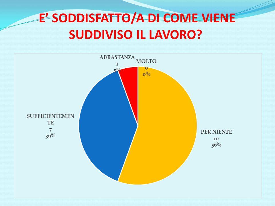 E' SODDISFATTO/A DI COME VIENE SUDDIVISO IL LAVORO?