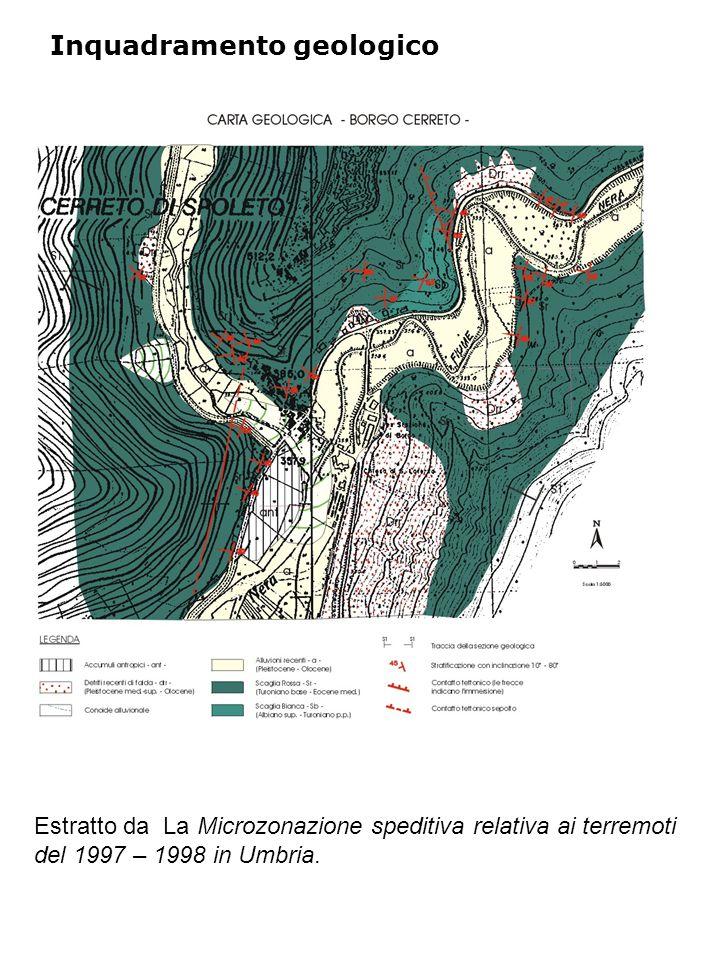 Inquadramento geologico Estratto da La Microzonazione speditiva relativa ai terremoti del 1997 – 1998 in Umbria.