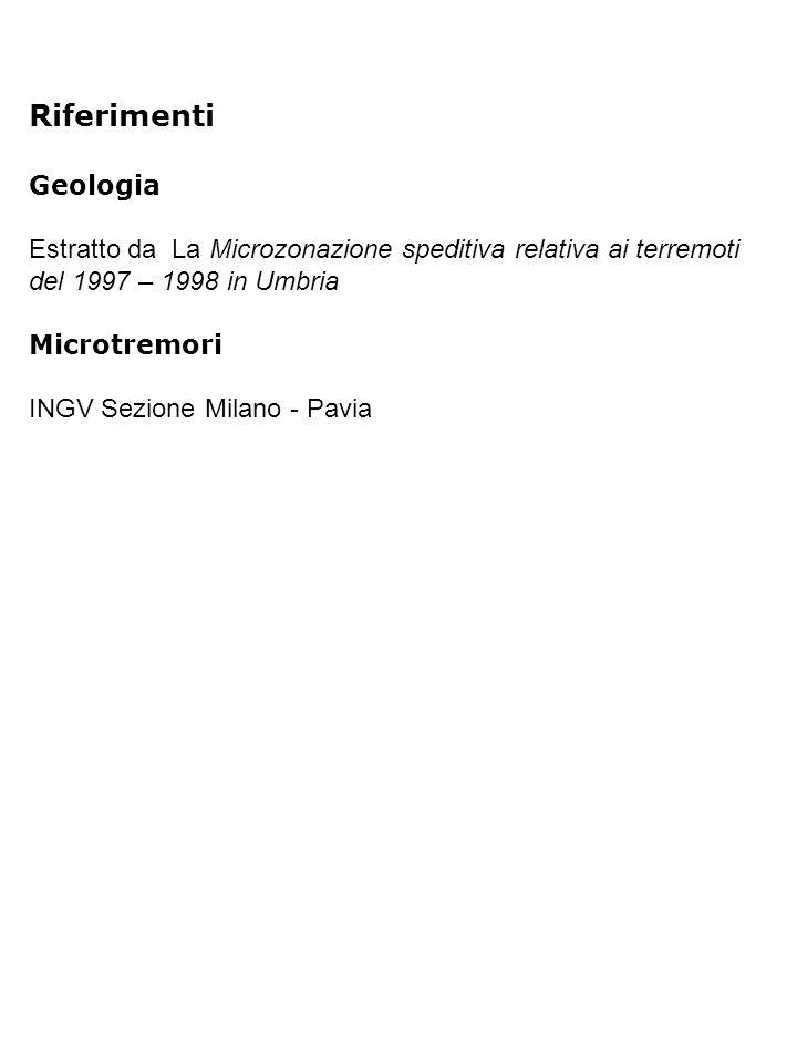 Riferimenti Geologia Estratto da La Microzonazione speditiva relativa ai terremoti del 1997 – 1998 in Umbria Microtremori INGV Sezione Milano - Pavia