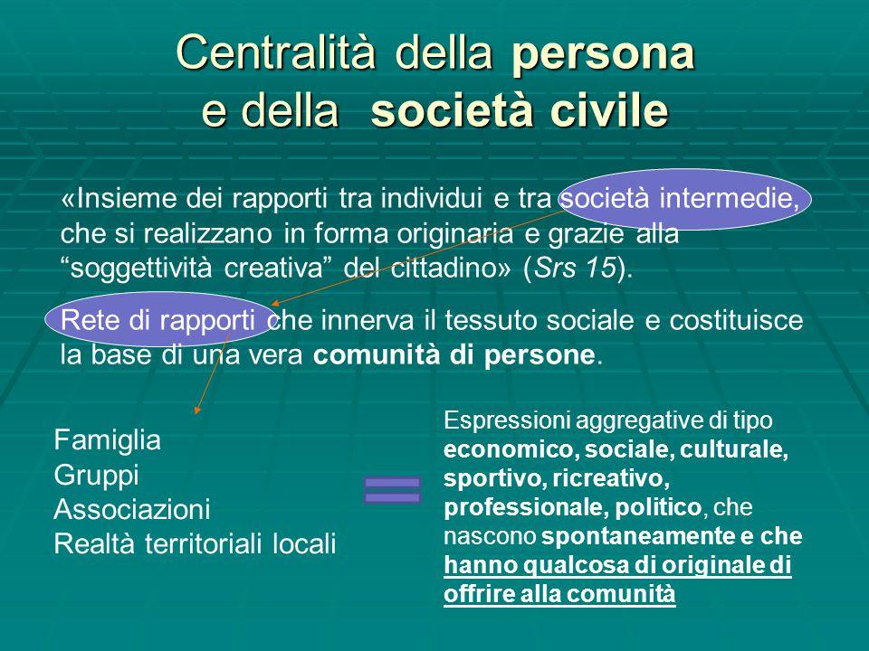 Centralità della persona e della società civile «Insieme dei rapporti tra individui e tra società intermedie, che si realizzano in forma originaria e