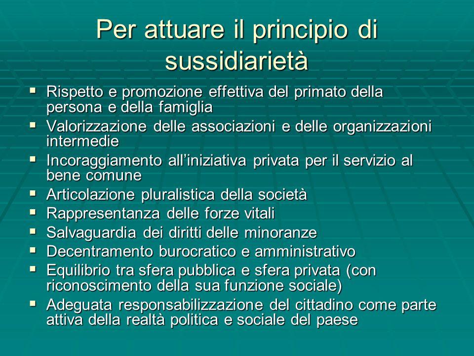 Per attuare il principio di sussidiarietà  Rispetto e promozione effettiva del primato della persona e della famiglia  Valorizzazione delle associaz