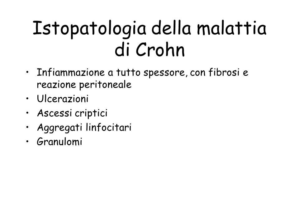 Istopatologia della malattia di Crohn Infiammazione a tutto spessore, con fibrosi e reazione peritoneale Ulcerazioni Ascessi criptici Aggregati linfoc