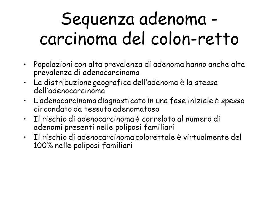 Sequenza adenoma - carcinoma del colon-retto Popolazioni con alta prevalenza di adenoma hanno anche alta prevalenza di adenocarcinoma La distribuzione