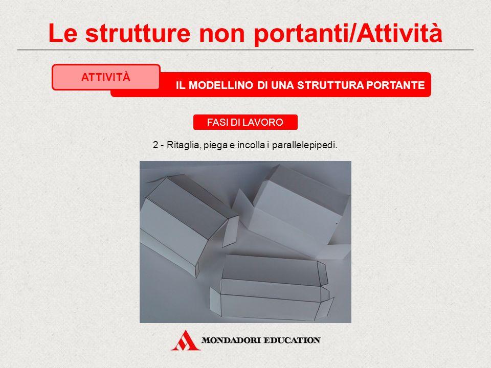 IL MODELLINO DI UNA STRUTTURA PORTANTE ATTIVITÀ 1 - Disegna su cartoncino lo sviluppo di tre parallelepipedi, uno per la trave e due per i pilastri. F