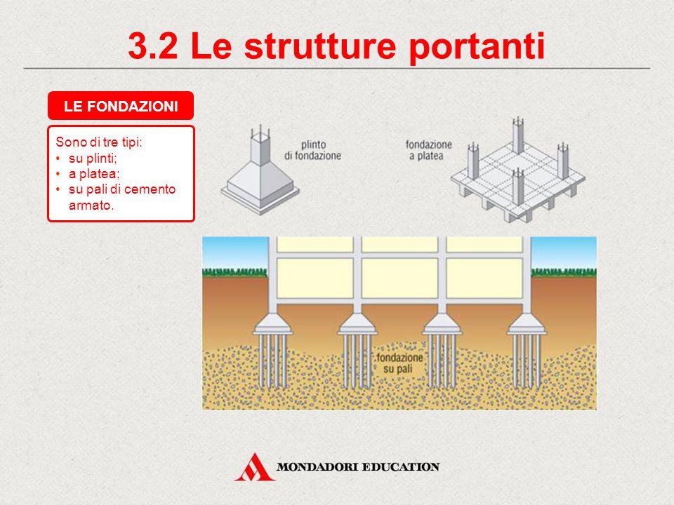 Sono di tre tipi: su plinti; a platea; su pali di cemento armato.