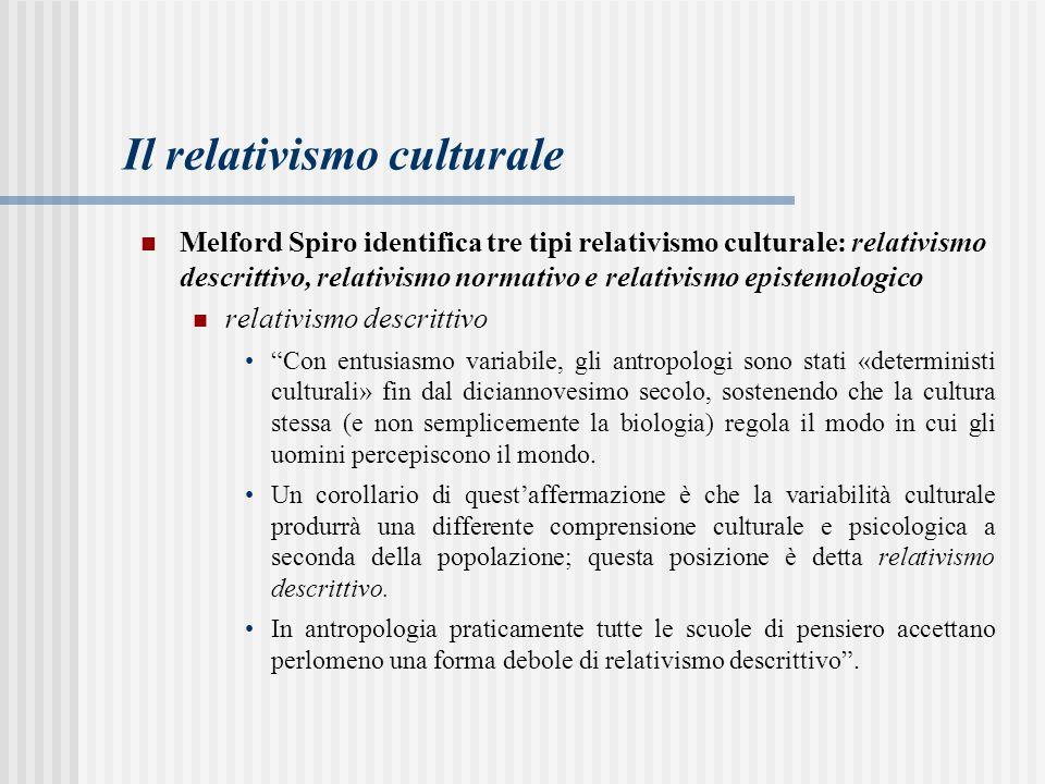 Il relativismo culturale Melford Spiro identifica tre tipi relativismo culturale: relativismo descrittivo, relativismo normativo e relativismo epistem