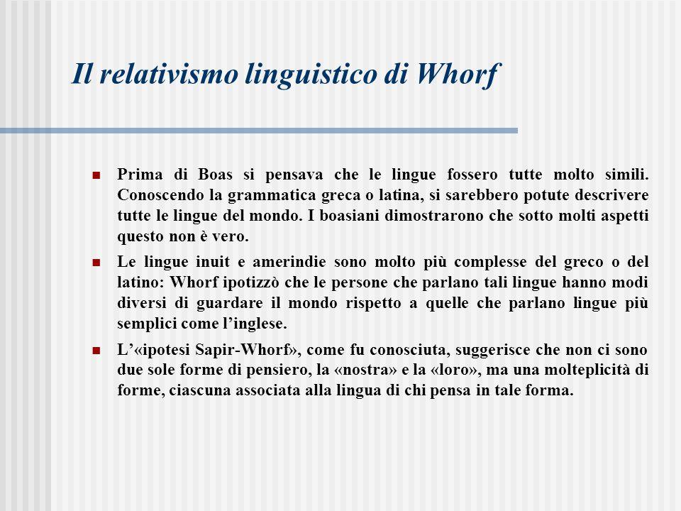 La posizione di Whorf può essere considerata una forma estrema di relativismo cognitivo e per questo è stato criticato in diversi punti: alcune delle idee pubblicate da Whorf sulla relazione tra linguaggio e cultura sono troppo semplicistiche.