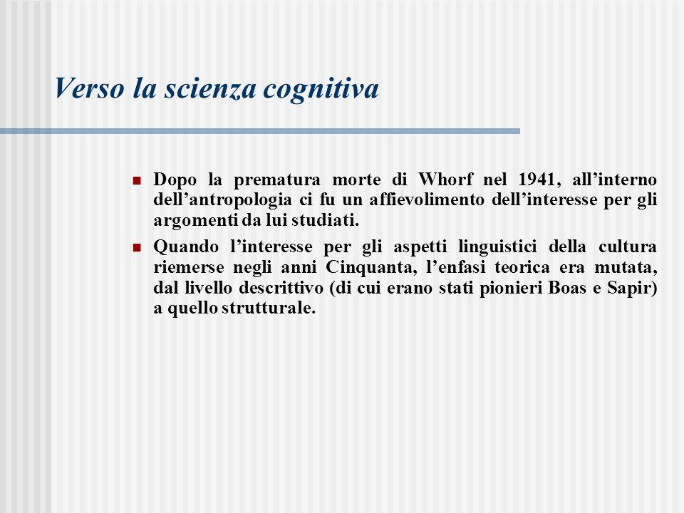 Verso la scienza cognitiva Dopo la prematura morte di Whorf nel 1941, all'interno dell'antropologia ci fu un affievolimento dell'interesse per gli arg