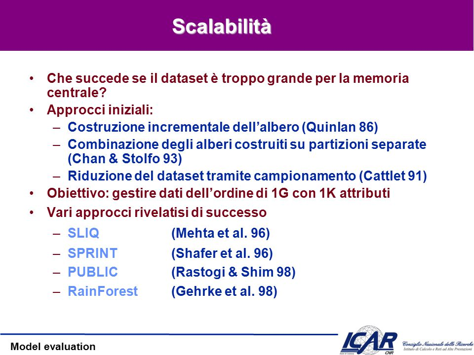 Model evaluation Valori mancanti in CART: Surrogati CART si basa sui valori di altri attributi Esempio: l'attributo INCOME Gli attributi Education o O