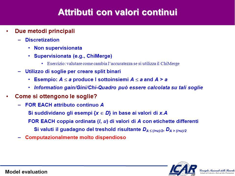 Model evaluation Pruning per la riduzione dell'errore Approccio Post-Pruning Dividiamo i dati inTraining e Validation Set Function Prune(T, n:node) –Rimuovi il sottoalbero che ha la radice in n –Trasforma n in una foglia (con l'etichetta di maggioranza associata) Algorithm Reduced-Error-Pruning (D) –Partiziona D in D train, D validation –Costruisci l'albero T on D train –WHILE l'accuratezza su D validation diminuisce DO FOR EACH nodo non-foglia T Temp[candidate]  Prune (T, candidate) Accuracy[candidate]  Test (Temp[candidate], D validation ) T  T'  Temp con il miglior valore di accuratezza –RETURN T