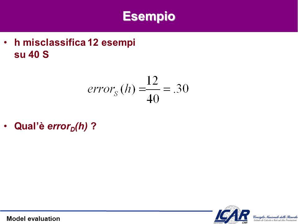 Model evaluation Due definizioni di errore Errore vero –Visione probabilistica Errore sul campione –Visione frequentistica Quanto error S (h) approssima error D (h)?