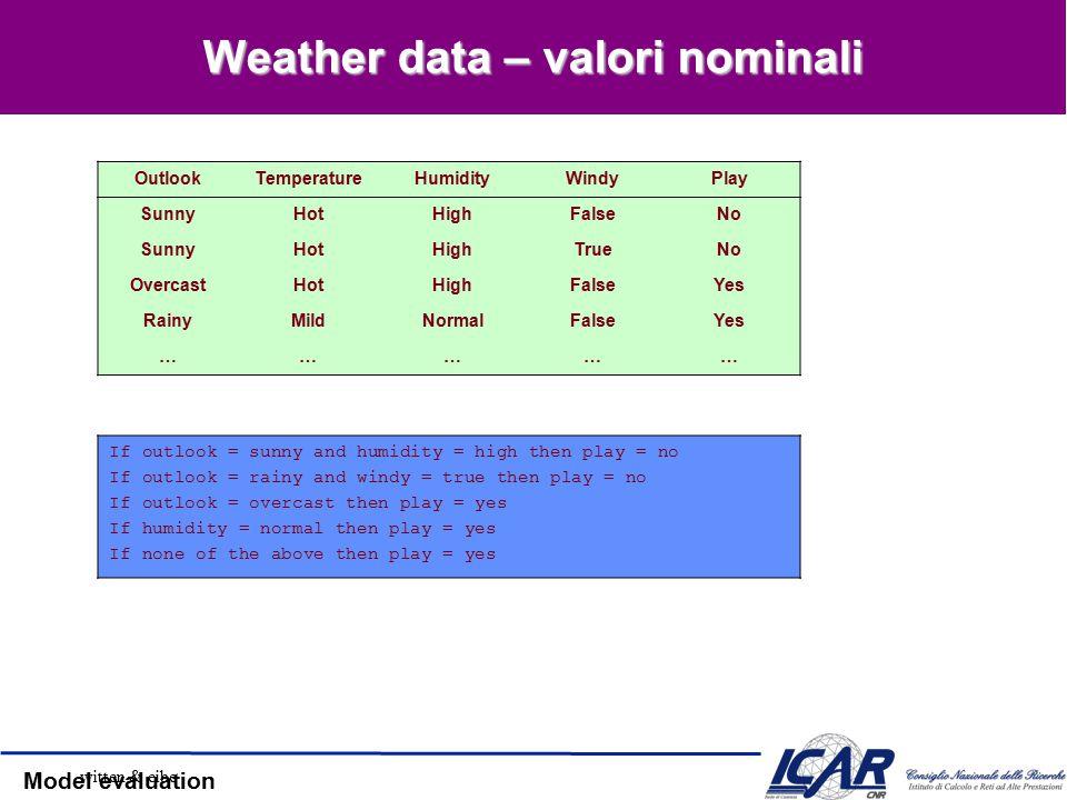 Model evaluation Gain Ratio [2] Gain ratio (Quinlan ' 86) Normalizza l ' information Gain: SplitInfo: entropia della distribuzione delle istanze nella partizione