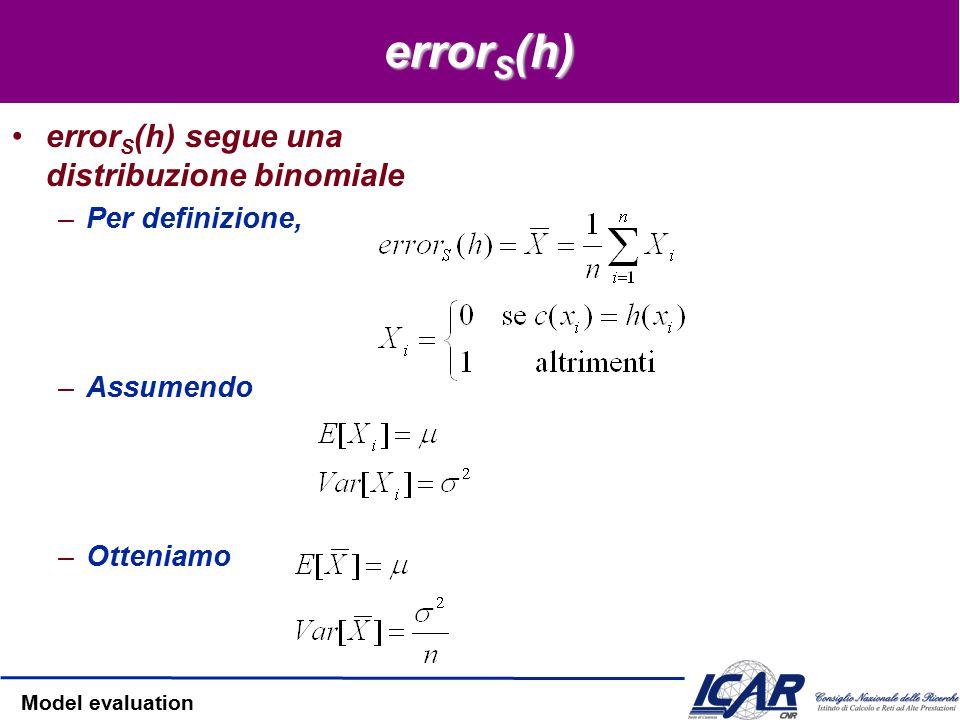 Model evaluation Probabilità Binomiale P(r) = probabilità di avere r teste nel lancio della monetina –P(head) = p Media Varianza Devianza