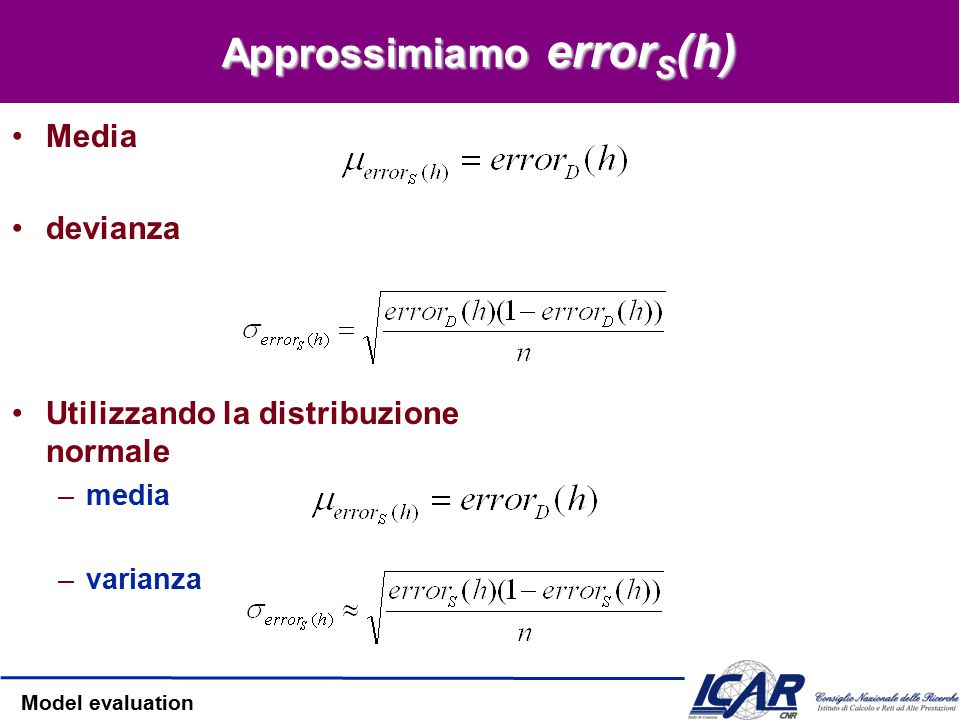 Model evaluation error S (h) error S (h) segue una distribuzione binomiale –Per definizione, –Assumendo –Otteniamo