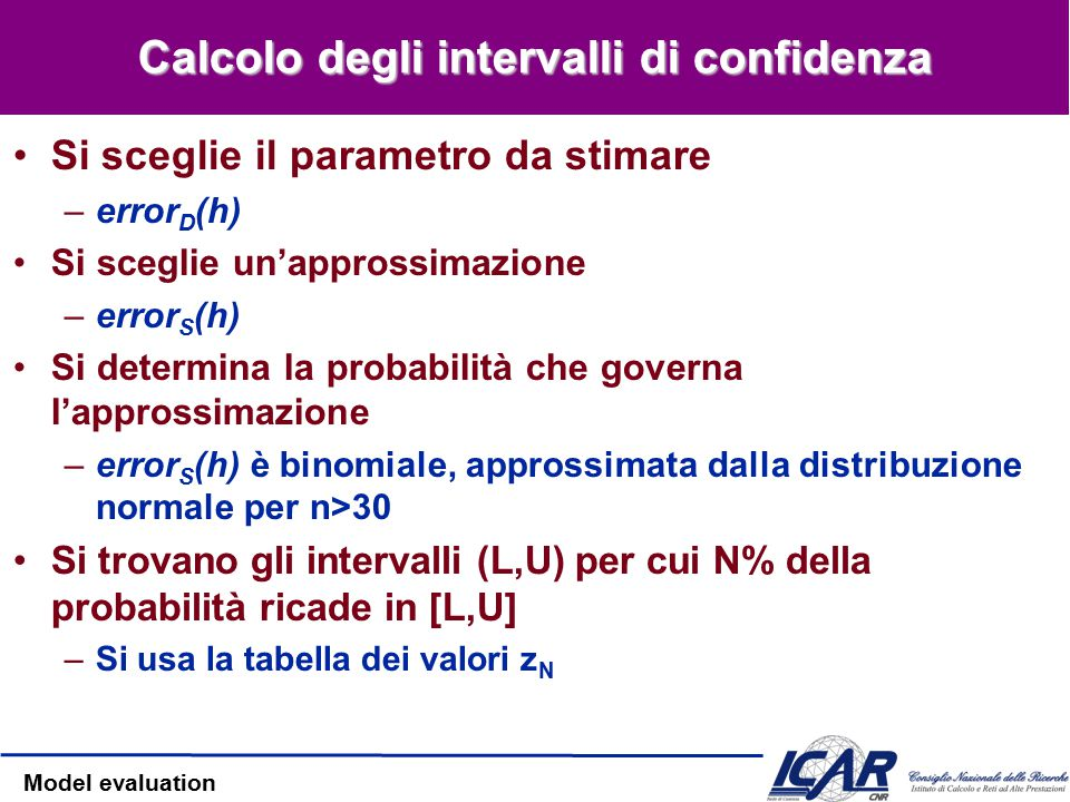 Model evaluation Intervalli di confidenza Se S contiene n istanze, n>30 allora –Con probabilità N%, error S (h) si trova nell'intervallo –equivalentem