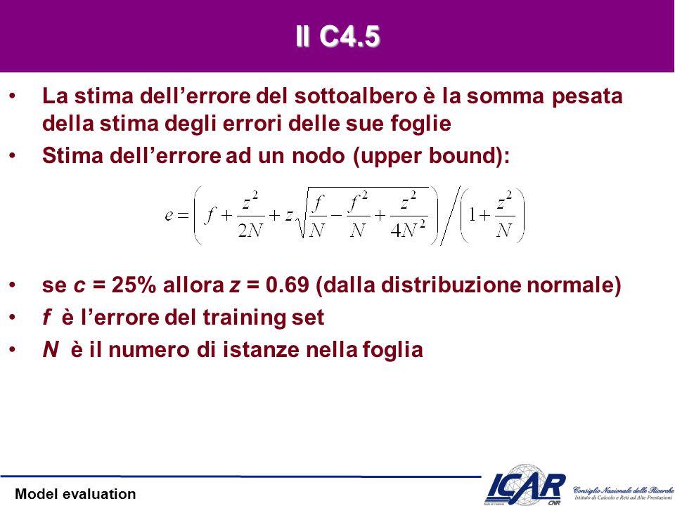 Model evaluation L'approccio C4.5 Valore trasformato dell'errore (f): –(ovvero, sottraiamo la media e dividiamo per la devianza) –La distribuzione ottenuta è normale Equazione risultante: Risolvendo per p (assumendo il limite maggiore):
