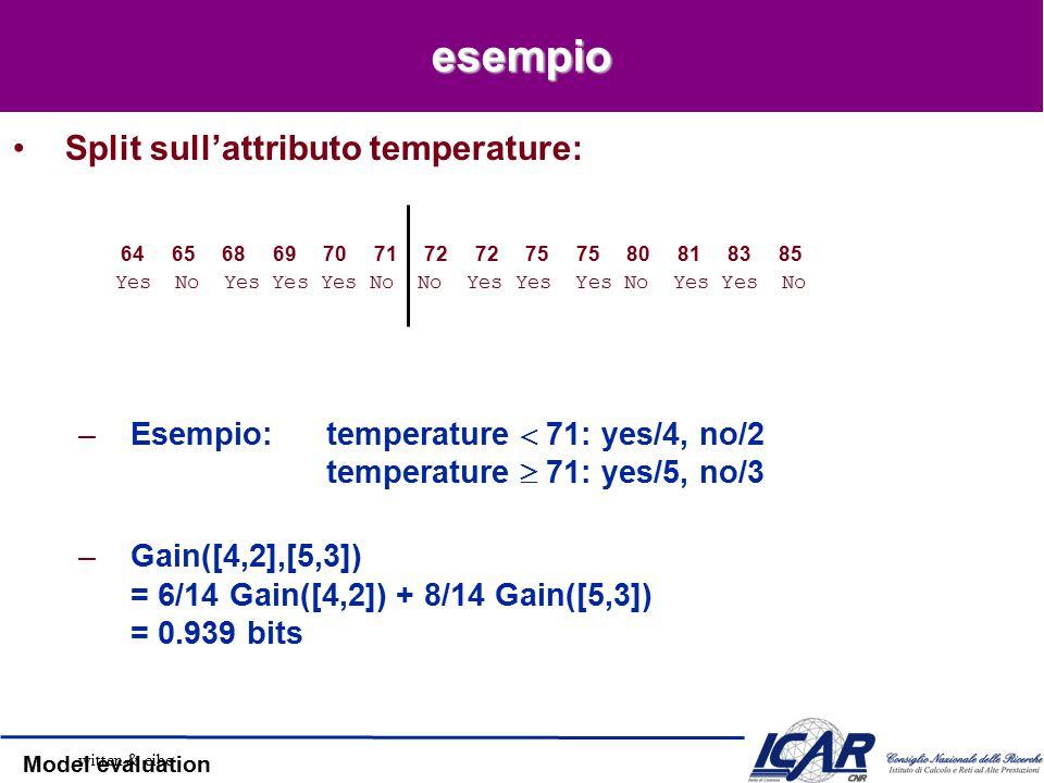 Model evaluation esempio Split sull'attributo temperature: –Esempio:temperature  71: yes/4, no/2 temperature  71: yes/5, no/3 –Gain([4,2],[5,3]) = 6/14 Gain([4,2]) + 8/14 Gain([5,3]) = 0.939 bits 64 65 68 69 70 71 72 72 75 75 80 81 83 85 Yes No Yes Yes Yes No No Yes Yes Yes No Yes Yes No witten & eibe