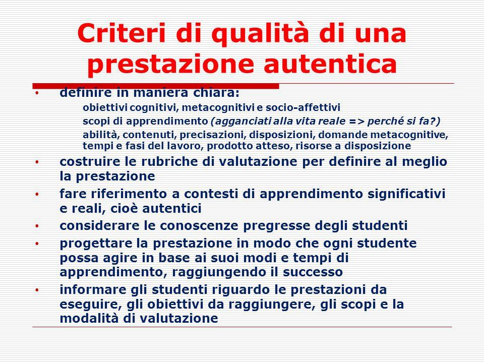 Criteri di qualità di una prestazione autentica definire in maniera chiara: obiettivi cognitivi, metacognitivi e socio-affettivi scopi di apprendiment