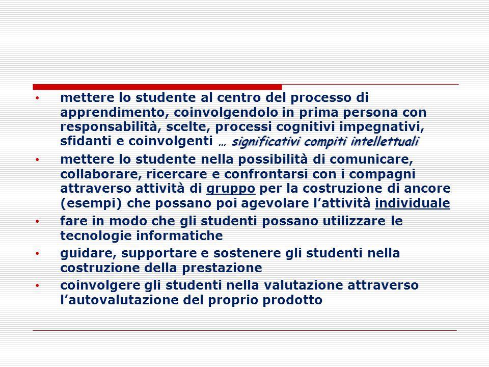 significativi compiti intellettuali mettere lo studente al centro del processo di apprendimento, coinvolgendolo in prima persona con responsabilità, s
