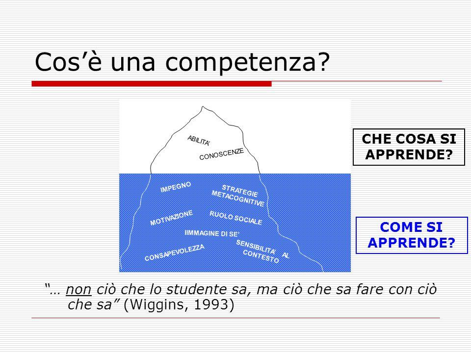 """Cos'è una competenza? """"… non ciò che lo studente sa, ma ciò che sa fare con ciò che sa"""" (Wiggins, 1993) CHE COSA SI APPRENDE? COME SI APPRENDE?"""