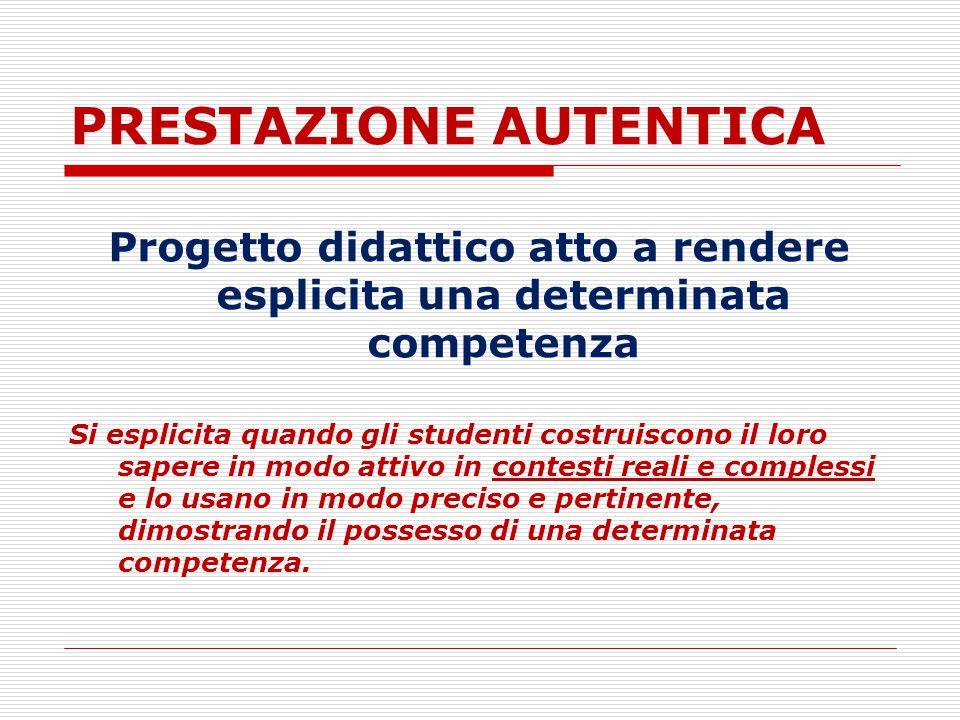 PRESTAZIONE AUTENTICA Progetto didattico atto a rendere esplicita una determinata competenza Si esplicita quando gli studenti costruiscono il loro sap