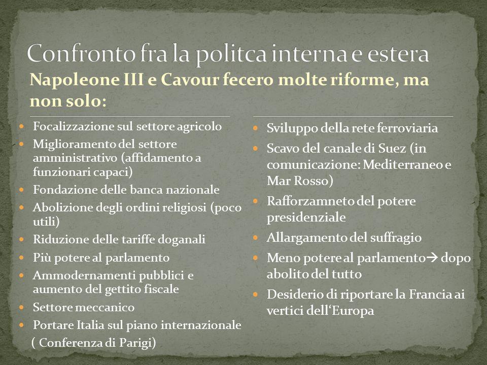 Napoleone III e Cavour fecero molte riforme, ma non solo: Focalizzazione sul settore agricolo Miglioramento del settore amministrativo (affidamento a