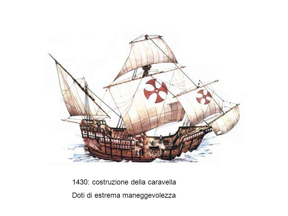 1430: costruzione della caravella Doti di estrema maneggevolezza