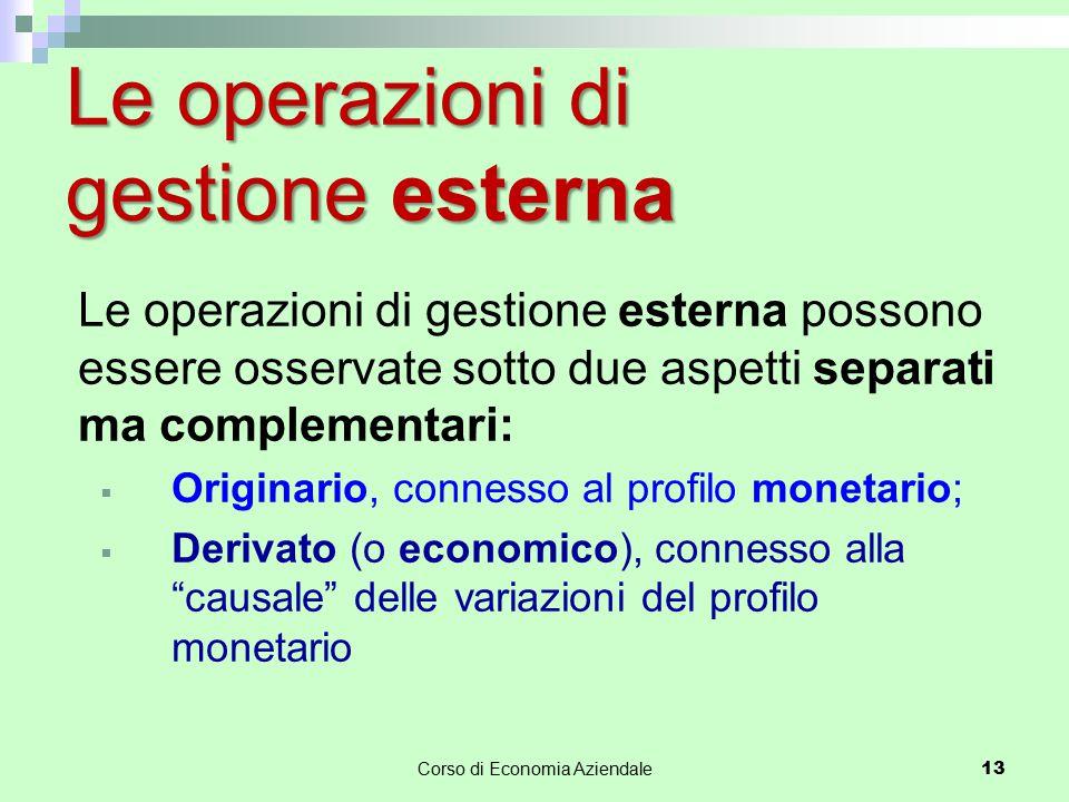 Corso di Economia Aziendale 13 Le operazioni di gestione esterna Le operazioni di gestione esterna possono essere osservate sotto due aspetti separati