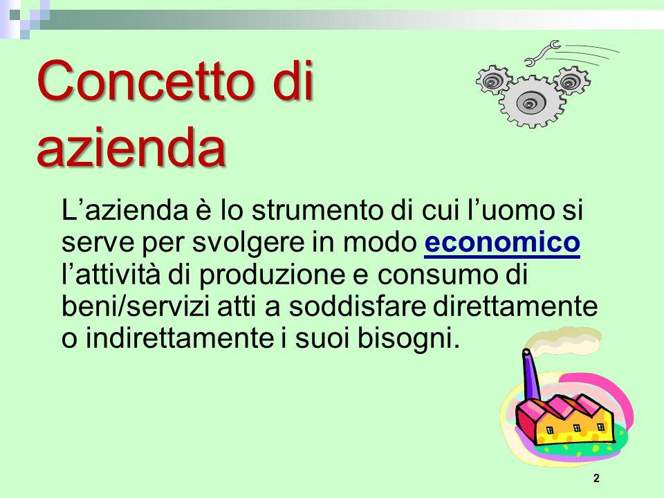 2 Concetto di azienda L'azienda è lo strumento di cui l'uomo si serve per svolgere in modo economico l'attività di produzione e consumo di beni/serviz