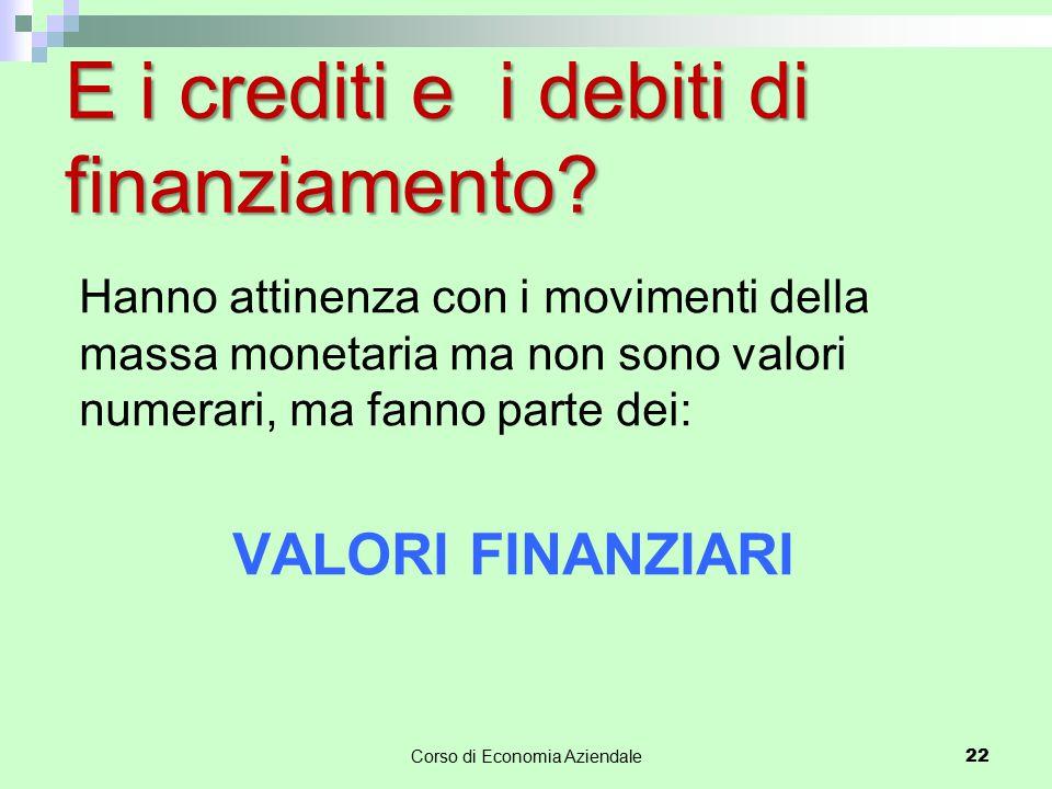 Corso di Economia Aziendale 22 E i crediti e i debiti di finanziamento? Hanno attinenza con i movimenti della massa monetaria ma non sono valori numer