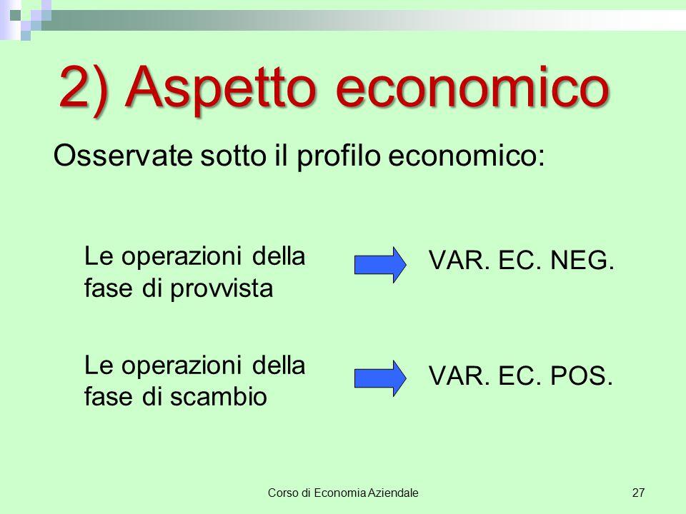Corso di Economia Aziendale27 2) Aspetto economico Le operazioni della fase di provvista Le operazioni della fase di scambio VAR. EC. NEG. VAR. EC. PO