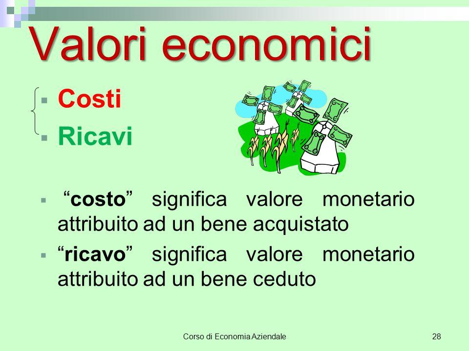 """Corso di Economia Aziendale28 Valori economici  Costi  Ricavi  """"costo"""" significa valore monetario attribuito ad un bene acquistato  """"ricavo"""" signi"""