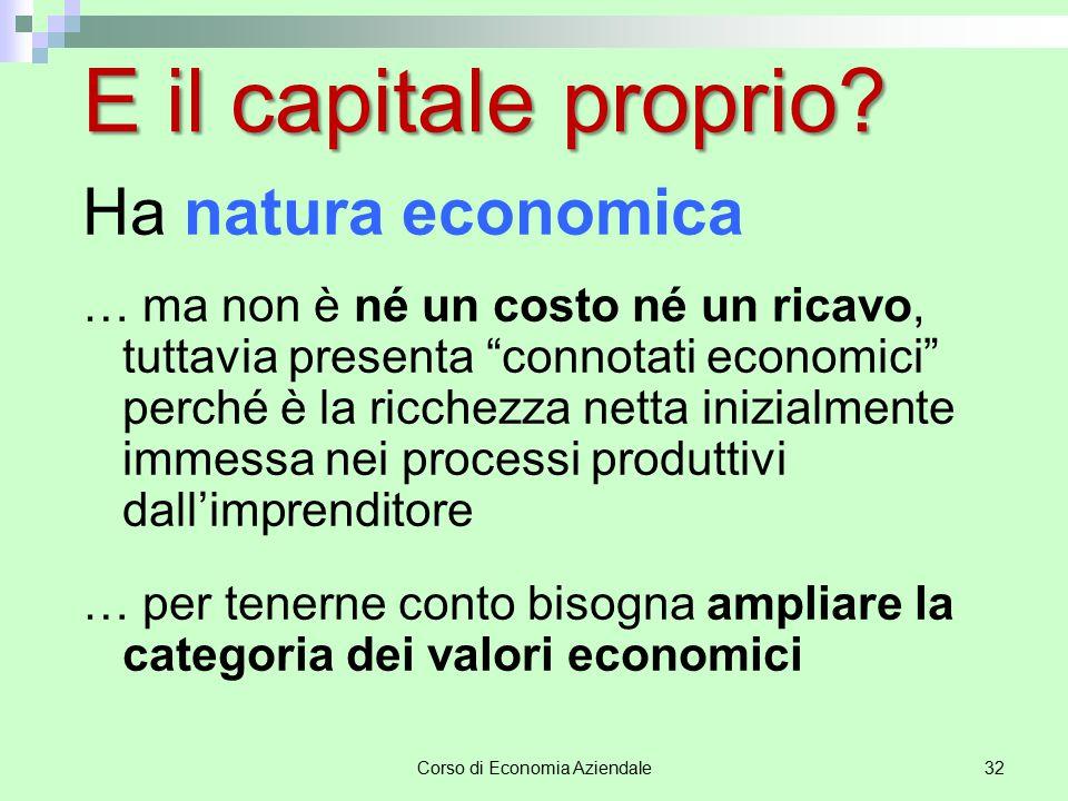 """Corso di Economia Aziendale32 E il capitale proprio? Ha natura economica … ma non è né un costo né un ricavo, tuttavia presenta """"connotati economici"""""""
