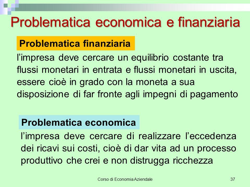 Corso di Economia Aziendale37 Problematica economica e finanziaria l'impresa deve cercare un equilibrio costante tra flussi monetari in entrata e flus