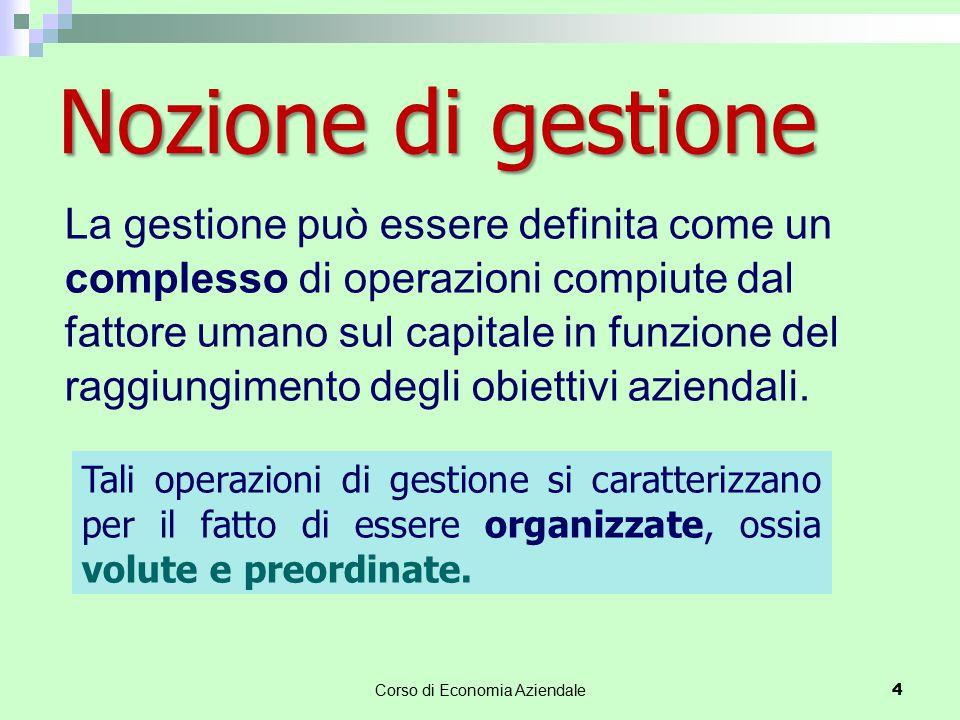 Nozione di gestione Corso di Economia Aziendale 4 La gestione può essere definita come un complesso di operazioni compiute dal fattore umano sul capit