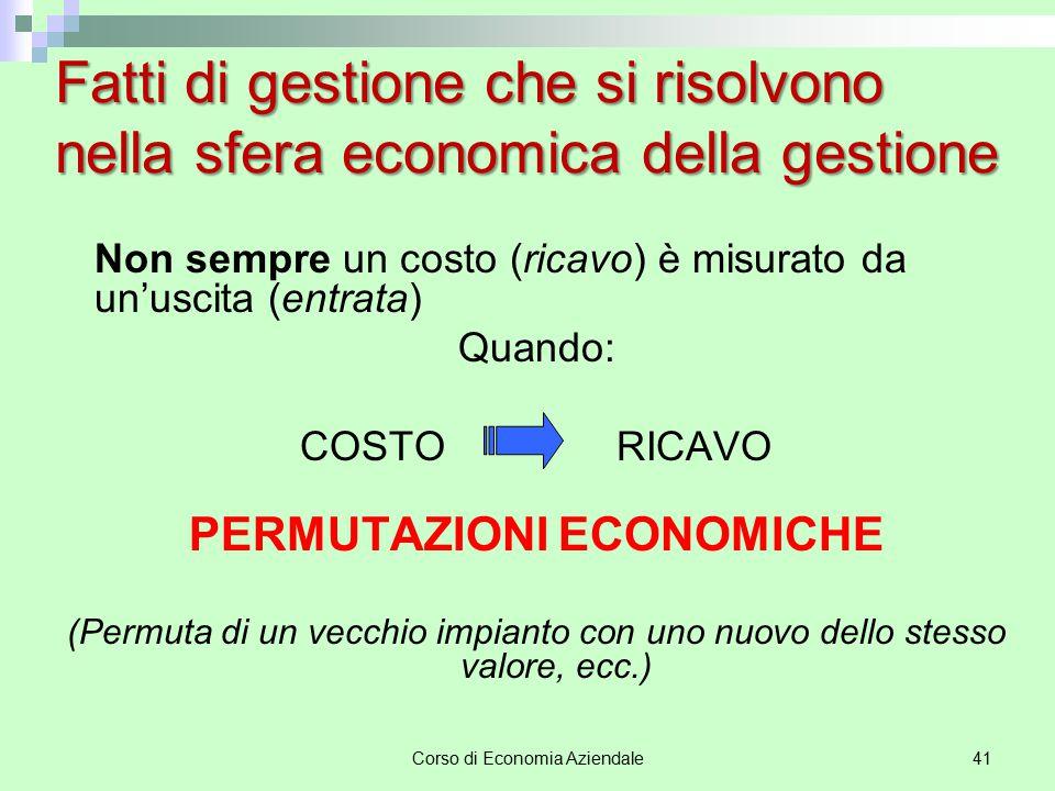 Corso di Economia Aziendale41 Fatti di gestione che si risolvono nella sfera economica della gestione Non sempre un costo (ricavo) è misurato da un'us