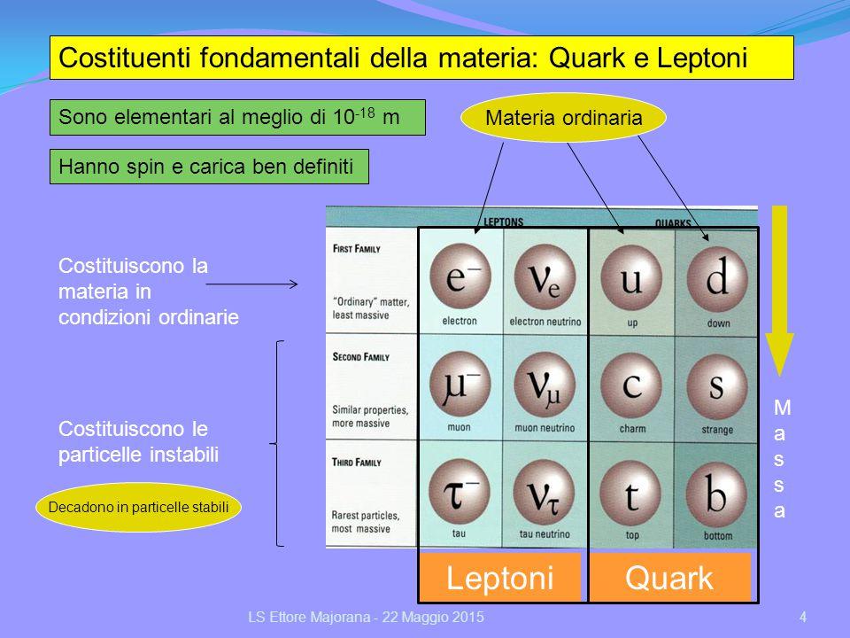 Costituenti fondamentali della materia: Quark e Leptoni Hanno spin e carica ben definiti Sono elementari al meglio di 10 -18 m Costituiscono la materi