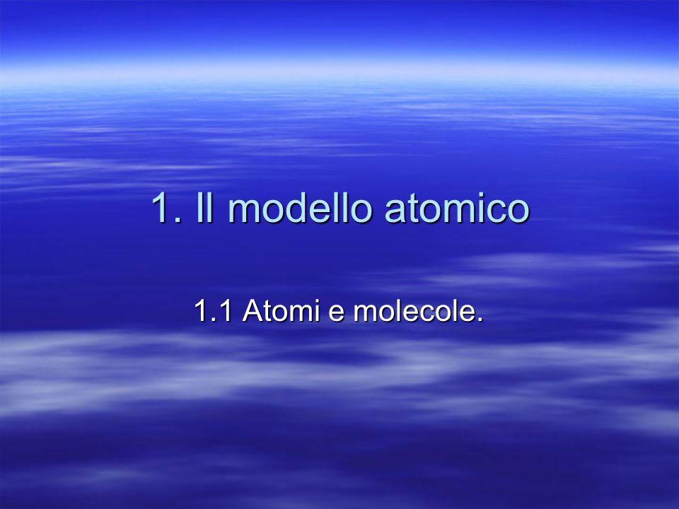 1. Il modello atomico 1.1 Atomi e molecole.
