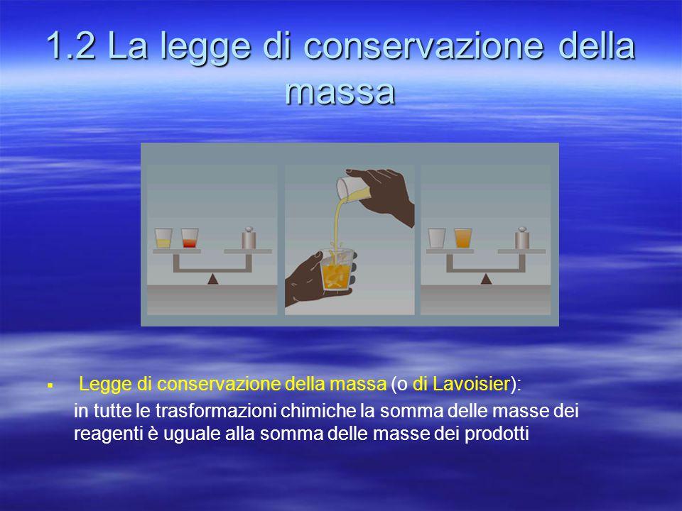 1.2 La legge di conservazione della massa  Legge di conservazione della massa (o di Lavoisier): in tutte le trasformazioni chimiche la somma delle ma