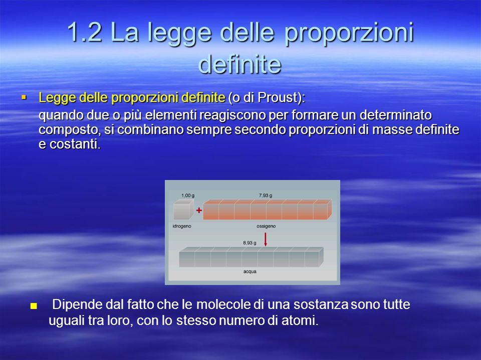 1.2 La legge delle proporzioni definite  Legge delle proporzioni definite (o di Proust): quando due o più elementi reagiscono per formare un determin
