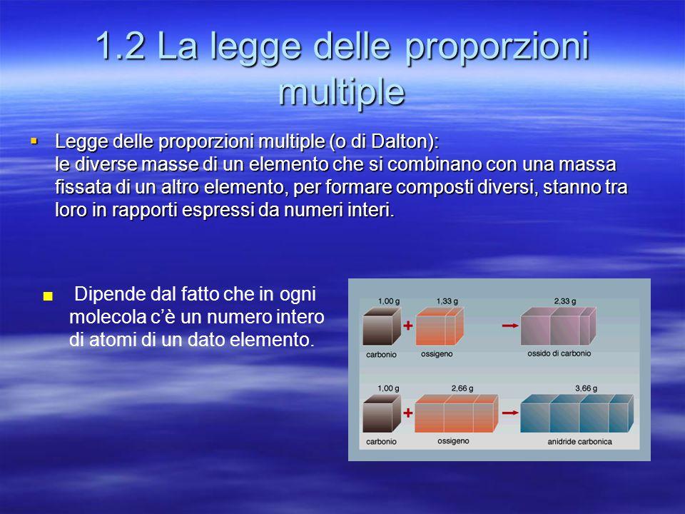 1.2 La legge delle proporzioni multiple  Legge delle proporzioni multiple (o di Dalton): le diverse masse di un elemento che si combinano con una mas