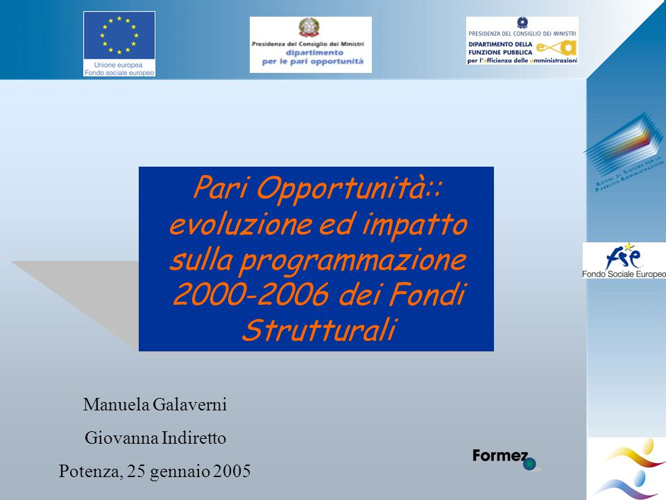 Pari Opportunità:: evoluzione ed impatto sulla programmazione 2000-2006 dei Fondi Strutturali Manuela Galaverni Giovanna Indiretto Potenza, 25 gennaio 2005