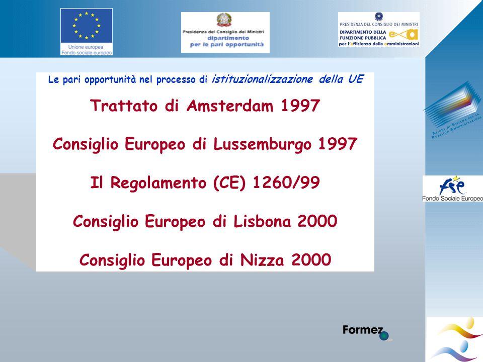 Le pari opportunità nel processo di istituzionalizzazione della UE Trattato di Amsterdam 1997 Consiglio Europeo di Lussemburgo 1997 Il Regolamento (CE) 1260/99 Consiglio Europeo di Lisbona 2000 Consiglio Europeo di Nizza 2000