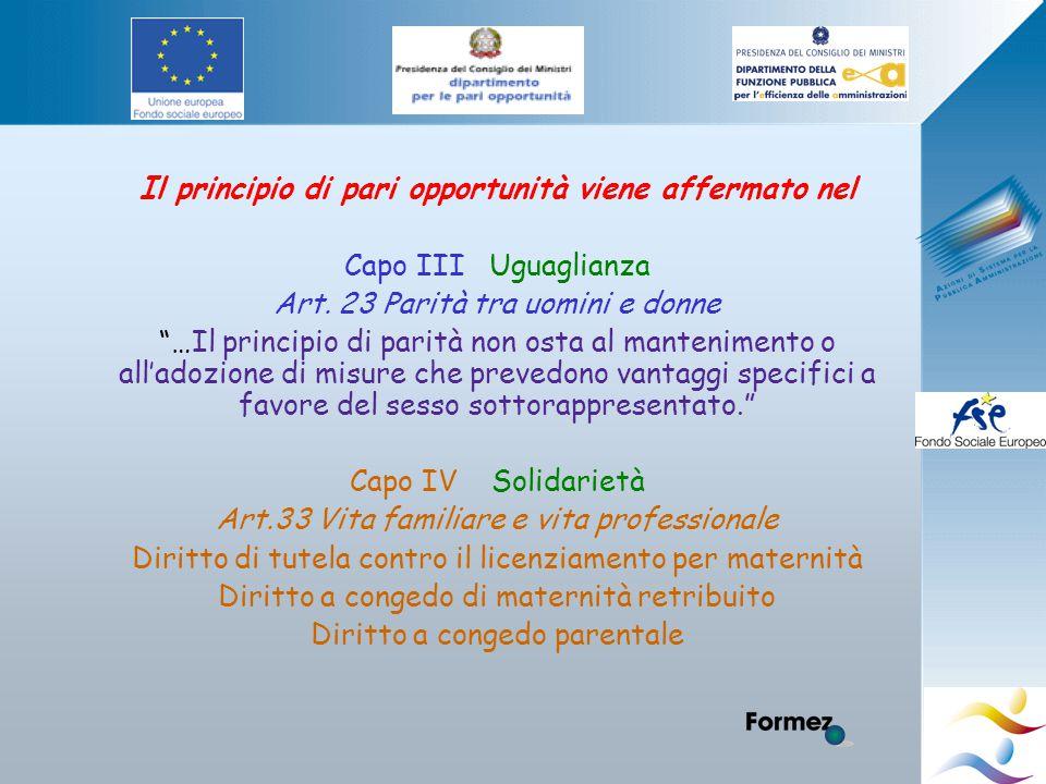 Il principio di pari opportunità viene affermato nel Capo III Uguaglianza Art.