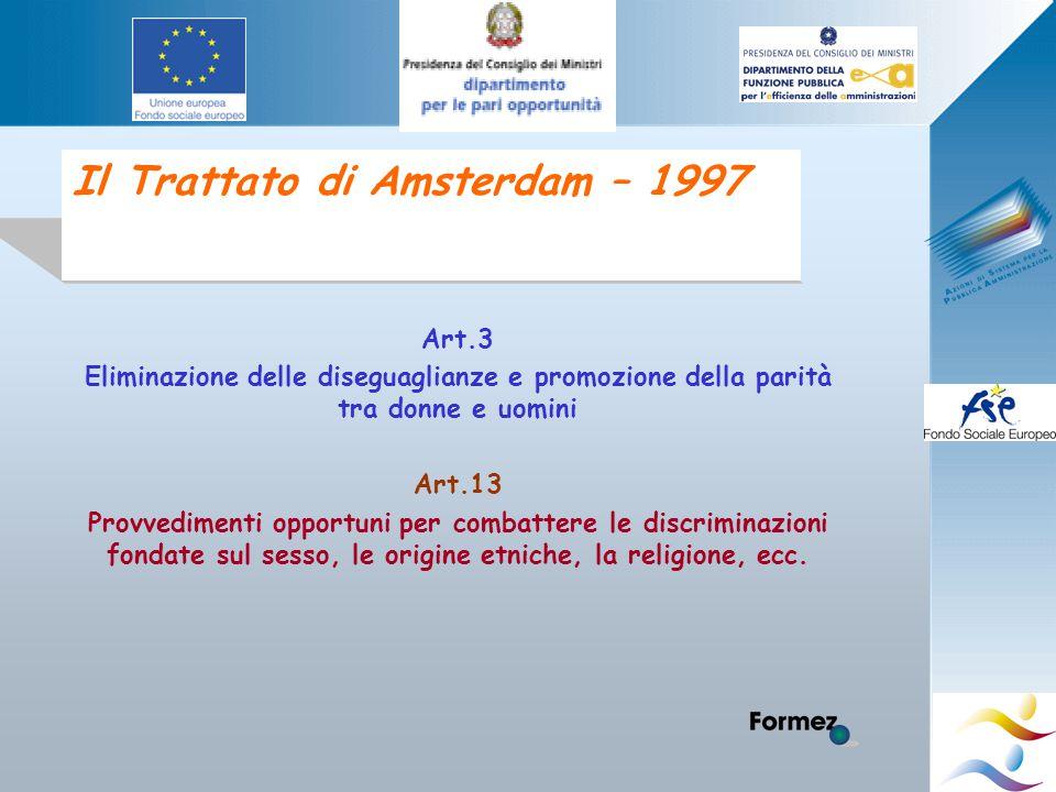 Il Trattato di Amsterdam – 1997 Art.3 Eliminazione delle diseguaglianze e promozione della parità tra donne e uomini Art.13 Provvedimenti opportuni per combattere le discriminazioni fondate sul sesso, le origine etniche, la religione, ecc.
